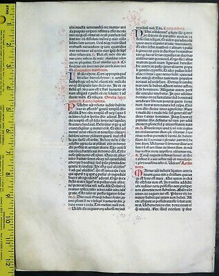 Extremely rare incunabula,Breviary leaf on vellum,6 handpt.initials,Jenson,1478