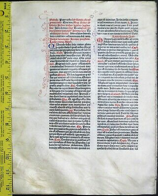 Extremely rare incunabula,Breviary leaf on vellum,5 handpt.initials,Jenson,1478