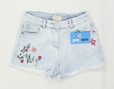 Next Girls Floral Blue Denim Shorts Age 9