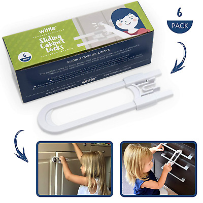 Wittle Child Safety Sliding Cabinet Lock - 6 Pk, White. Baby Proof Cabinet Knobs
