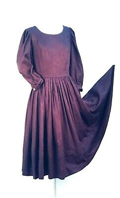 Vintage Laura Ashley? Victorian Style Purple Cotton Dress Full Sweep Size  4-6