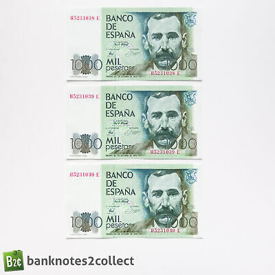 SPAIN: 3 x 1,000 Spanish Peseta Banknotes with Consecutive Serial Numbers.