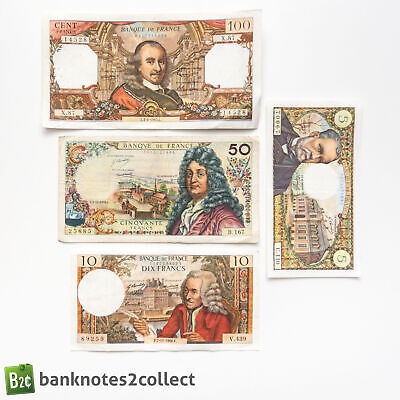 FRANCE: Set of 4 French Franc Banknotes.