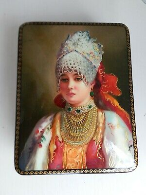New Black Lacquer Russian Box 'Russian Beauty In Traditional Costume'