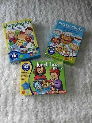 3 X Orchard Toys Educational Board Games Crazy Chefs Shopping List Lunch Box