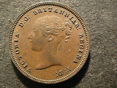 """1844 Great Britain Queen Victoria """"Young Head"""" 1/2 Farthing. Uncirculated"""