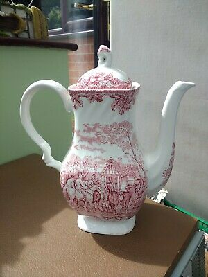 Vintage Stoneware Myotts Country Life Design Coffee Pot in Pink