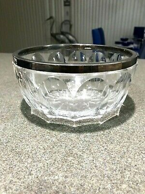 Vintage German Faceted Glass Bowl w 800 Silver Rim by Jakob Grimminger