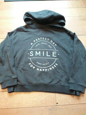 NEXT girls Grey Hoodie With Silver Smile Design Age 7 Yrs/ 122 Cm