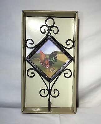 Rooster Chicken Wall Mount Hook Metal Country Farmhouse Home Decor