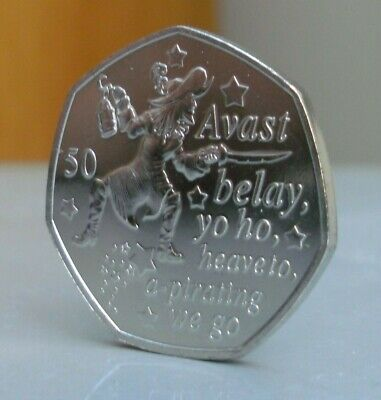 .2019 Captain Hook Uncirculated 50p coin, from the Peter Pan Collection IOM.