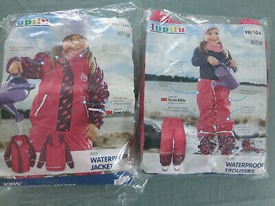Lupilu Girl's Waterproof Jacket & Trousers  Rain / Windproof  2 - 4 years BNIP
