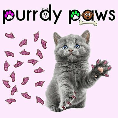Purrdy Paws 40-Pack Soft Nail Caps for Cat Claws Royal Pink Glitter (Large)