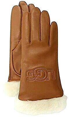 New Australia UGG® LOGO Leather Tech Gloves with Shearling Cuffs MSRP $110.00