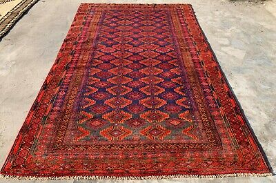 Authentic Hand Knotted Afghan Balouch Wool Area Rug 7 x 4 Ft (659 HM)