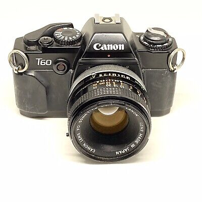 Canon T60 35mm SLR Film Camera FD 50mm f/1.8 lens Tested and Working OFFER