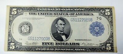 1914 $5 Dollar Horse Blanket Lincoln Note