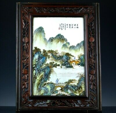 Fine Old Chinese Republic Famille Rose Enamel Landscape Wall Plaque Signed 1