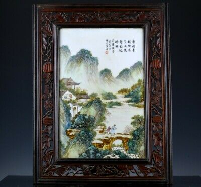 Fine Old Chinese Republic Famille Rose Enamel Landscape Wall Plaque Signed 2