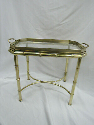 Vintage Mastercraft Solid Brass Faux Bamboo Tray Cocktail Table  Accent Glass