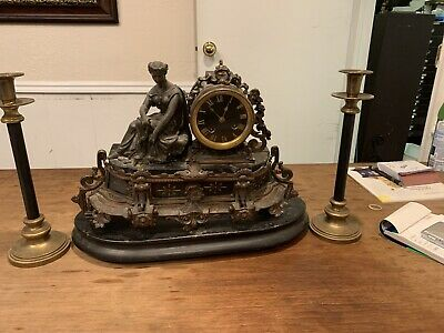 19th Century French Sculptural Clock And Candelabra Garniture