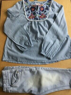 Girls Fatface Cotton embroidered smock top/cropped skinny jeans outfit age 10