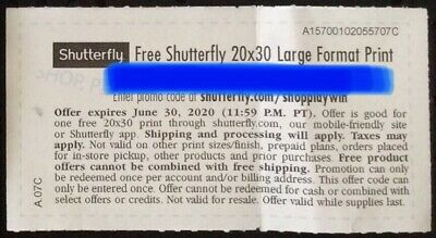 ONE (1) Shutterfly 20x30 Large Format Print COUPON DISCOUNT. E-delivery.