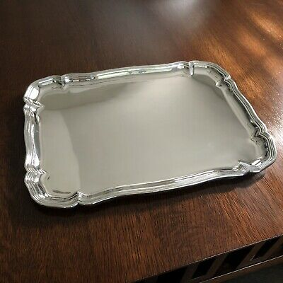 HEAVY Chippendale 800 Silver Serving Tray, Antique German, Koch and Bergfeld