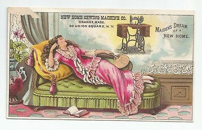 Antique New Home Sewing Machine Maidens Dream Sleeping Victorian Lady Trade Card