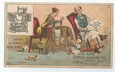 NICE Antique New Home Sewing Machine Victorian Man & Wife Advertising Trade Card
