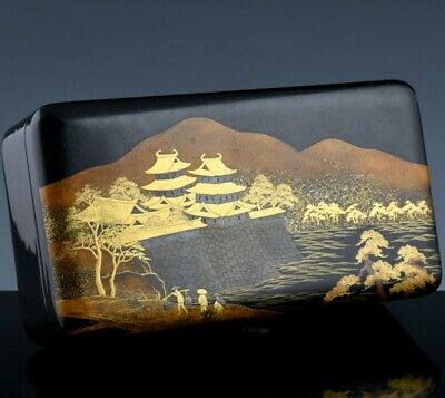 Very Fine Antique Japanese Meiji Gold & Silver Lacquer Landscape Desk Table Box
