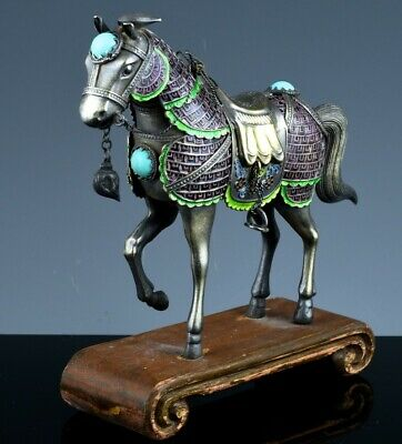 Very Fine Antique Chinese Sterling Silver Enamel & Turquoise Stone Horse Figure