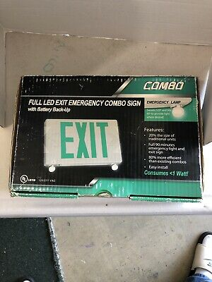 LED Exit Sign Emergency Light Green Compact Combo Fire Safety Battery Backup
