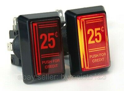 Arcade 25 Cent Coin Red LED Push Button for Mame (2 Pack)