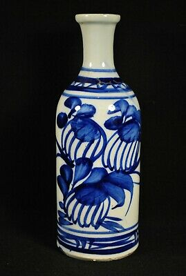 VINTAGE C1930 TOKKURI SAKE BOTTLE / Blue & White Porcelain Ceramic Flower Vase