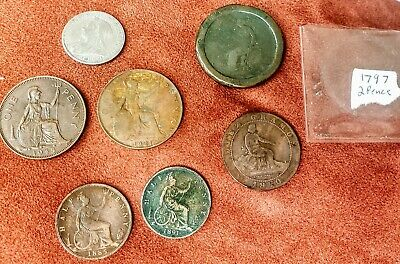 Lot Of Seven GB Coins. Including a 1797 two pence 2P, 2 half-penny coins, etc