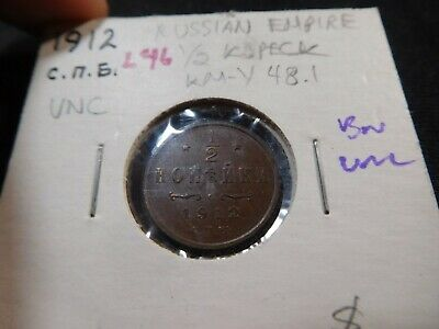 L46 Russia Empire 1912 1/2 Kopek UNC Brown