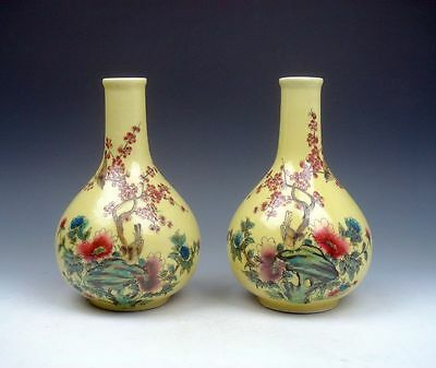 Pair Glazed Porcelain Famille-Rose Birds Flowers Hand Painted Gourd Shaped Vases
