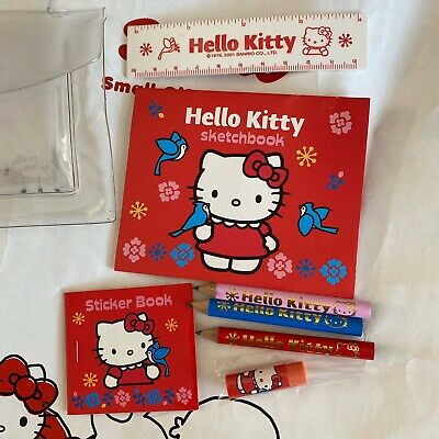 Sanrio 2001 Vintage Hello Kitty Blue Bird Mini Sticker Book, Eraser, Pencils Set