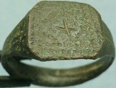 Byzantine Bronze Ring, Cross