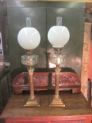 2 Large Corinthian  Collumn Oil Lamps