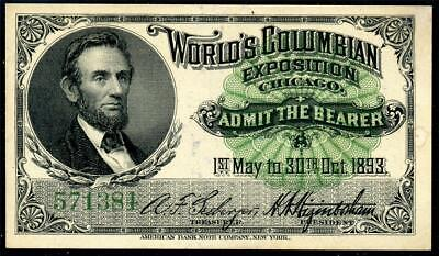 HGR SATURDAY 1893 Expo Ticket ((Lincoln)) Appears GEM UNCIRCULATED