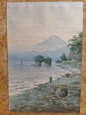 C1920 Signed Satta Japanese Watercolor Painting Mt Fuji by Water