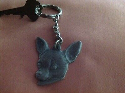 Vintage 1982 pewter I LOVE MY CHIHUAHUA keychain...adorable!!!