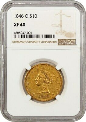 1846-O $10 NGC XF40 - Frosty XF - Liberty Eagle - Gold Coin - Frosty XF