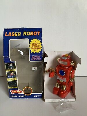 Vintage BOTOY Battery Operated Toy Laser Robot 1980s Toy Working Tested W/ Box