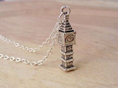 Big Ben Necklace - London Monument Jewelry - Clock Tower Charm - Silver Jewelry