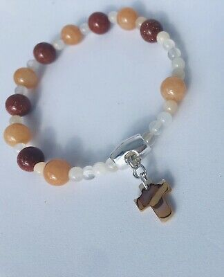 One Decade Rosary Adult Bracelet Moonstone Red Aventurine and Brown Goldstone