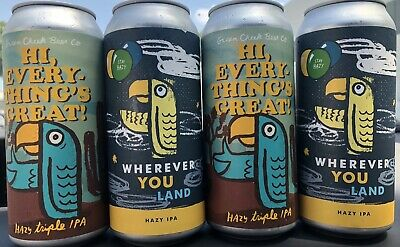 "Green Cheek Mixed 4 Pack (4 ""empty"" cans) Monkish, other half, electric"