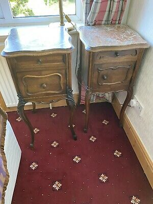 Antique French Louis XV Marble Top Bedside Cabinets Matched Pair